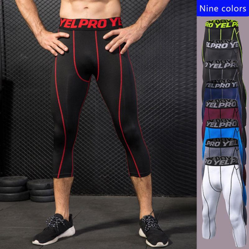Mens Training Capri Compression Pants Cool-Dry Wide Waistband Tights Stripes Printed 3/4 Running Leggings Athletic Baselayer