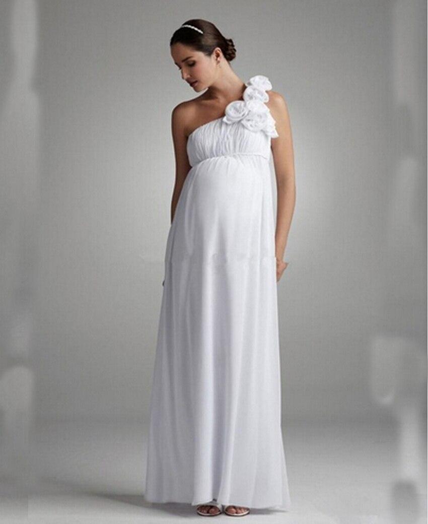 Online get cheap custom strapless maternity dresses white custom white maternity pregnant wedding dresses one shoulder a line chiffon beach handmade flowers plus size ombrellifo Images
