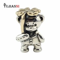 925 Sterling Silver Lucky Clover Bear Beads 4 Leaves Charms for DIY Jewelry Making Fits European Original Bracelet & Necklace