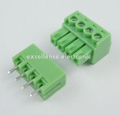 100 Pcs 3.81mm Pitch 4 Pin Straight Screw Pluggable Terminal Block Plug Connecto 2 pin 7 62mm pitch screw terminal block connectors green 20 piece pack