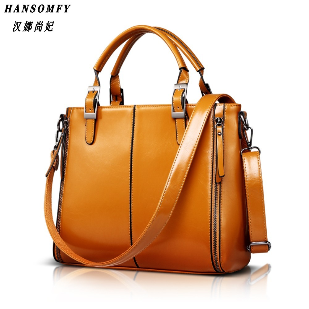 100% cuero genuino bolsos de las mujeres 2018 nuevo bolso de la manera marrón mujeres bolsa de mensajero de la vendimia Ladie de la Oficina