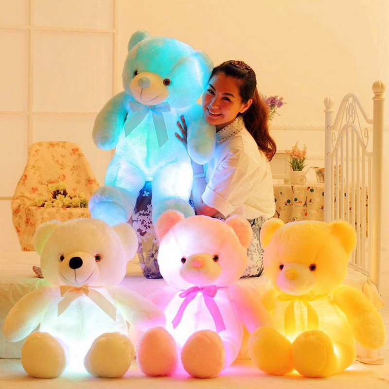 2017 Children New Creative Light Up LED Teddy Bear Stuffed Animals Plush Toy Colorful Glowing Teddy Bear Christmas Gift for Kids image