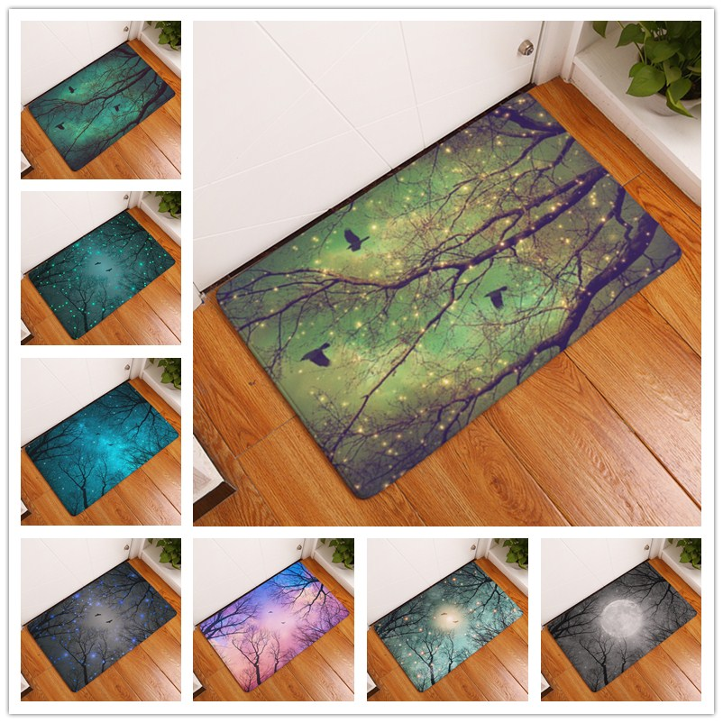 2017 New Painting Tree Print Carpets Non Slip Kitchen Rugs