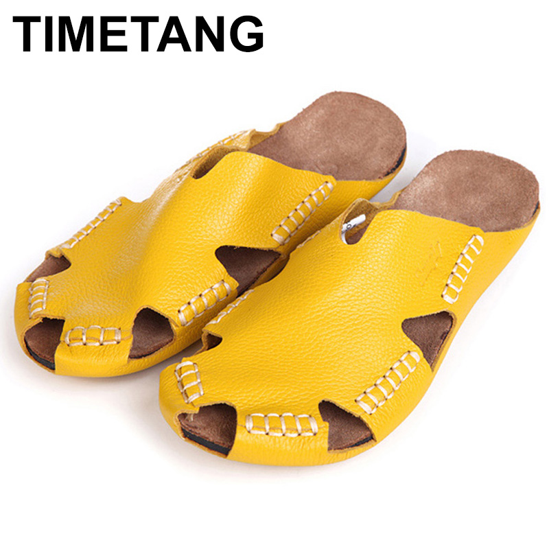 TIMETANG 35-45 Women Sandals 100% Authentic Leather Gladiator Sandals Women Summer Shoes Beach Slides Ladies Shoes C242 timetang 2017 leather gladiator sandals comfort creepers platform casual shoes woman summer style mother women shoes xwd5583