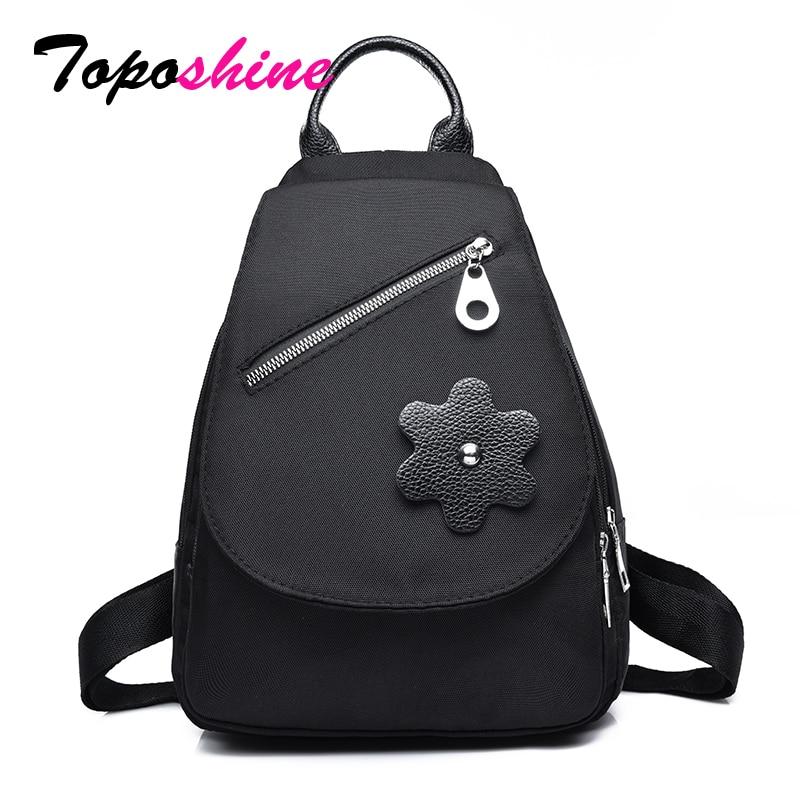 все цены на Toposhine Black Women Backpack Youth Women Bags Oxford Backpacks for Teenage Girls Female School Shoulder Bag Drop Shipping