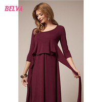 Belva 2017 O Neck Bamboo Fiber Maternity Dresses Pregnancy Clothes For Photo Shoot Dress Evening Maternity