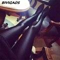 Nuevo 2016 Para Mujer Brillante Negro Brillante Leggings Pantalones Que Forma Los Pantalones Leggings Chinlon Altas Polainas Atractivas Elásticos Mujeres