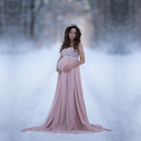 Slip Strap Baby Shower Dresses Maternity Photography Props Long Dress Pregnant Chiffon Maxi Dress Maternity Gown