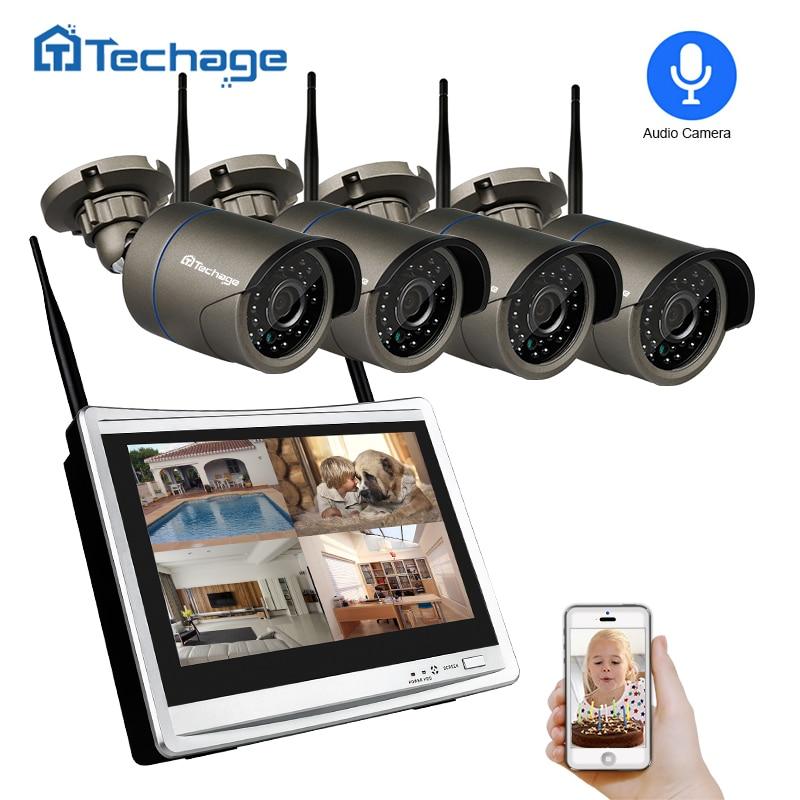 Techage 4CH 1080 p Sans Fil CCTV Système 12 LCD NVR 2.0MP Extérieure Enregistrement Audio Son Wifi Caméra Vidéo de Sécurité kit de Surveillance