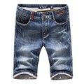 Высокое качество мужские хлопчатобумажные Тонкий Светло-Голубой Короткие Джинсы 2016 новый летний Мужчина Молодежь популярный стиль Повседневная джинсовые шорты Размер 36