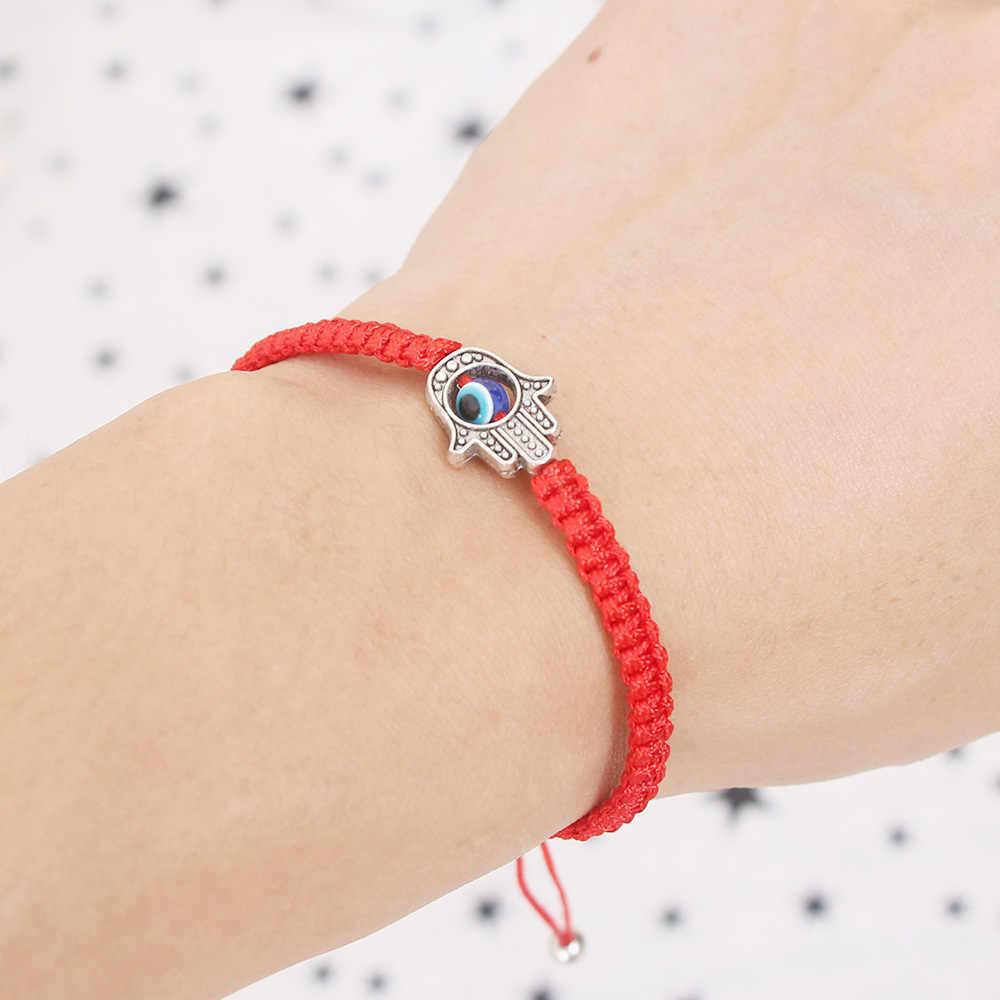 Lucky Kabbalah Red String ด้าย Hamsa สร้อยข้อมือสีฟ้าตุรกี Evil Eye Charm ผู้หญิง Handmade เครื่องประดับมิตรภาพ