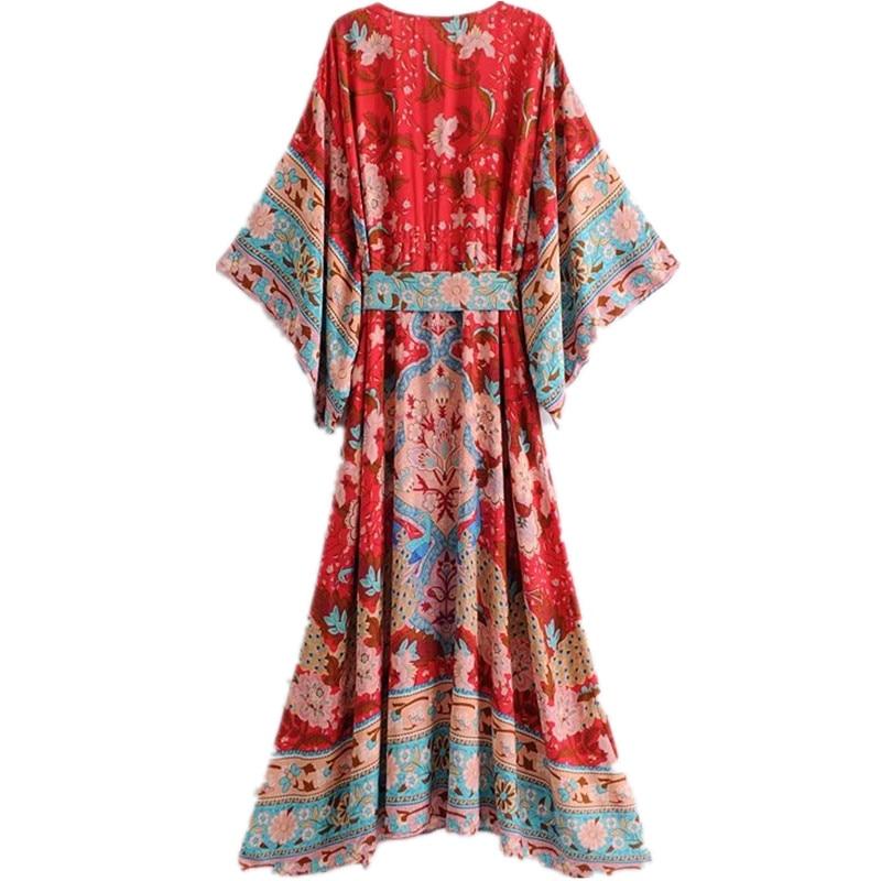 ecae3e626c Bohemian Floral Printing Kimono Sundress Summer 2018 Women Boho Beach Tunic  Maxi Dress Casual Female Elegant Loose Long Dress