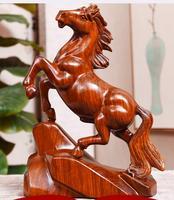 Ручной резьбой цельной древесины груша резной деревянный конь odiac желтые цветы груша из палисандра украшения дома статуя Прямая продажа с ф