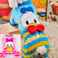 Duck Pattern Winter Dog Jumpsuits Warm Cloth Coral Fleece Soft Dog Clothes Pet Costume Products Round