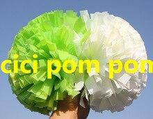 2 pom pom font b cheerleader b font pom pom half plastic green half white 1