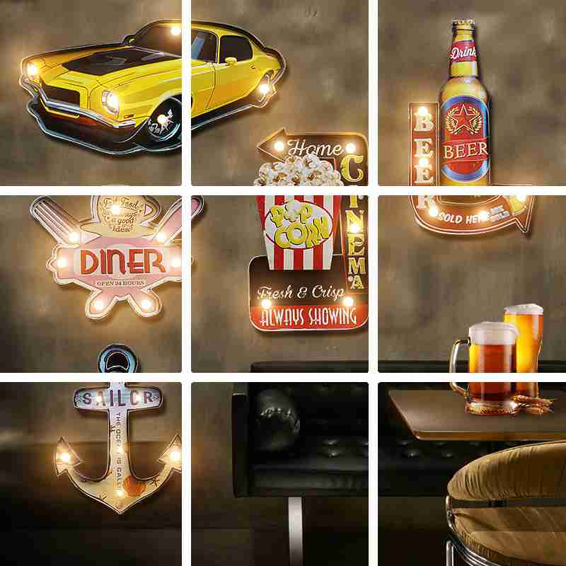 New Styles LED Light Neon Sign Retro Plaque Hanging Metal Painting Decorative Metal Plate for Pub Bar Shop Advertising Signboard