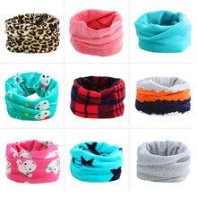 Двухслойный плюшевый толстый шарф для детей до 10 лет, Модный зимний теплый детский шарф с круглым вырезом