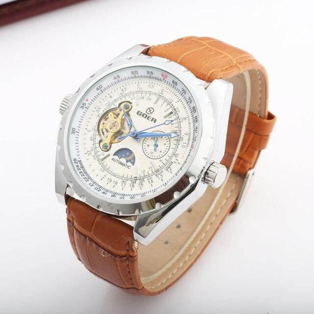 cb8203863d9 FREQÜENTADOR Dos Homens de Luxo Mecânica Relógios Pulseira de Couro Genuíno  Moda Homens Fase Da Lua