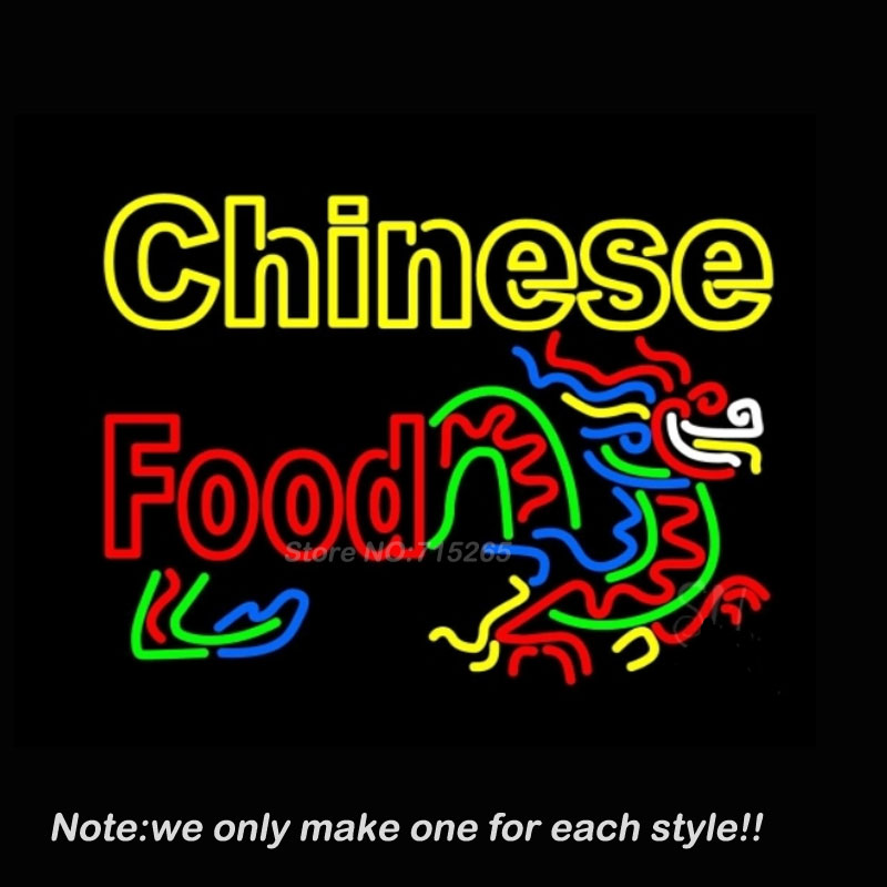 Double Stroke Chinese Food Logo Neon Sign Recreation Room Windows Handcraft Neon Bulbs Real Glass Tube Store Display Gift 30x20