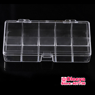 2pcslot 10 Grid Plastic Ttansparent Box Acrylic Cosmetic NailArt