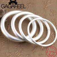 GAGAFEEL 100% Genuine 990 Sterling Silver Bangles Solid Bracelet for Men Women Couple's Jewelries 4mm 10mm