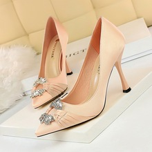 Women Elegant Party Stain Crystal Buckle 10CM Thin High Heels Wedding Shoes Ladies Spring/Autumn Slip-On Pointed Toe Pumps Shoes недорого