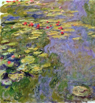 100% handmade landscape oil painting reproduction on linen canvas,water-lilies-43 by claude monet,FREE dhl Shipping,top quality