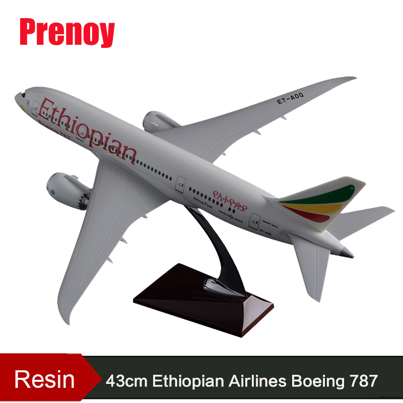 43cm Resin B787 Ethiopian Airplane Model Aviation Aircraft Model Boeing 787 Ethiopia Aviation Plane Model Collection Gift Toy цена