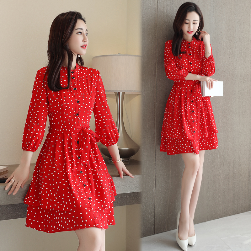 Ladies Dress Polka Dot Fashion Trend Pleated Lace Dress Slim Slimming 2019 Spring Summer New Style Women 39 s Chiffon Dresses in Dresses from Women 39 s Clothing