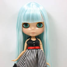 ICY Nude Blyth Doll Serires No.BL6909 Lake Blue Straight hair JOINT body burning skin with big breast Factory Blyth(China)