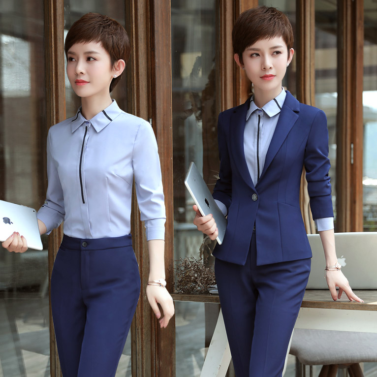 2020 Autumn and Winter Professional Women's Suit Long Sleeve Slim Small Interview Hotel Workwear Three Suits - 4