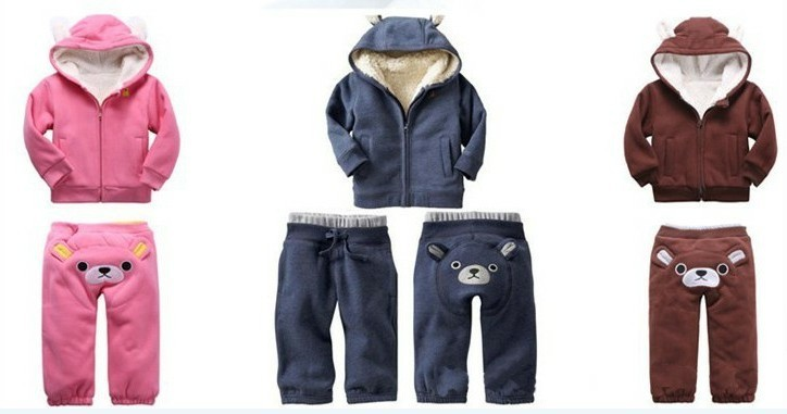 Free Shipping High quality Baby Long sleeved Winter thicken Hooded Bear suit girls boys coat pants