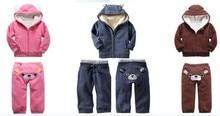 Младенцы длинная рукавами зима утолщаются закрытый воротник медведь костюм девочки / мальчики пальто + брюки комплект 3 цвета 5 комплект / много