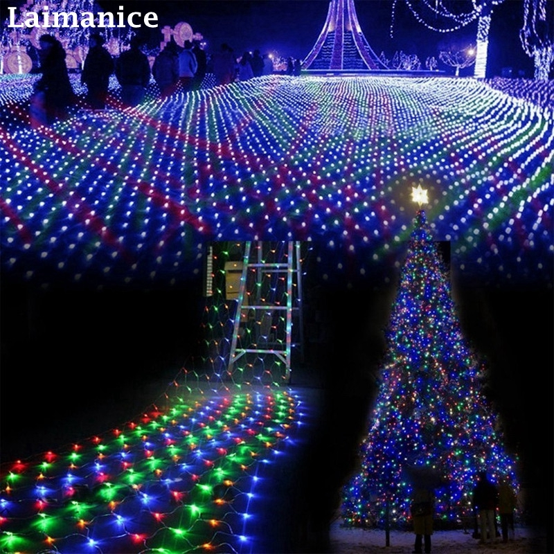 8M x 10M 2600 LED Home Outdoor Holiday Christmas Decorative Wedding xmas String Fairy Curtain Garlands Strip Party Net Lights недорого