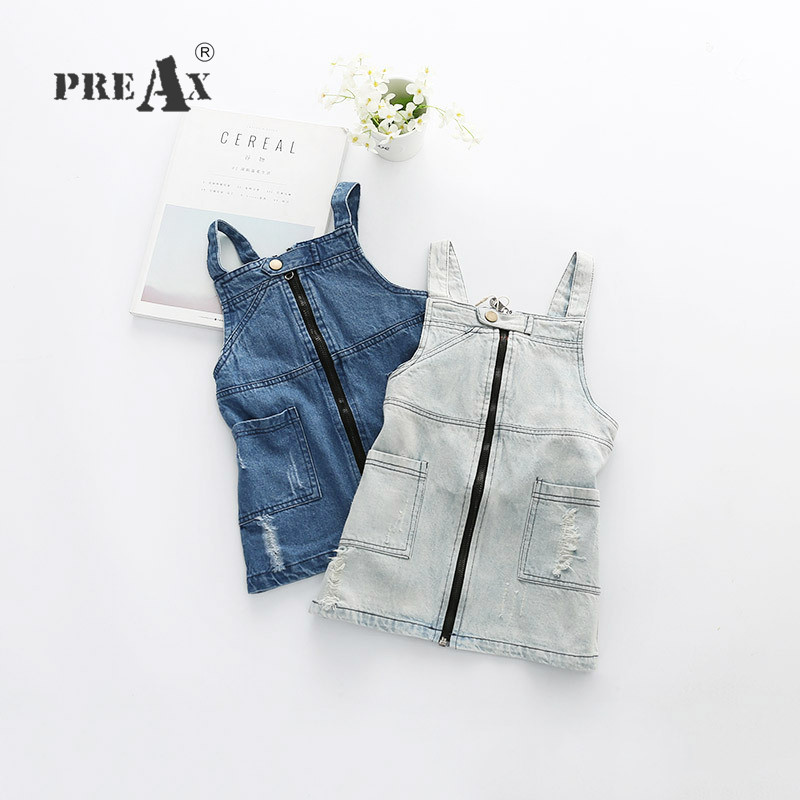 Fashion Front Zipper Baby Sundress Baby Girl Dress Spring Denim Dresses Girls Overalls Kids Jeans Children Clothes Kids Clothing baby girl denim strap dress 2018 summer new suspender dress baby girl clothes denim sundress for girl children clothing cowboy