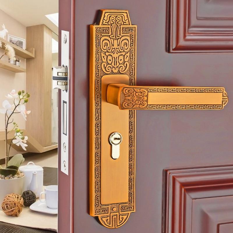 ZENHOSIT 1PC Modernized Luxurious Yellow Bronze Mute Door Handle Lock Aluminum Interior Handlesets for Furniture Hardware 1pc interior