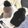 [Dexing]Fashion Solid Polyester Hip Hop Cap with Fur Pom Pom velvet  Baseball Cap for  women men Adjustable Snapback Cap