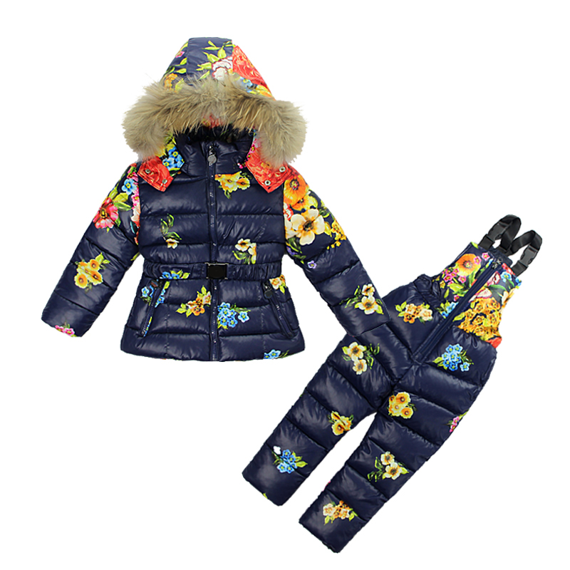 Kids Girl Winter Clothes Sets Hooded Coat 2017 Fashion Flower Print Overalls Jumpsuits Snow Wear Children Clothing  2 -7 Years
