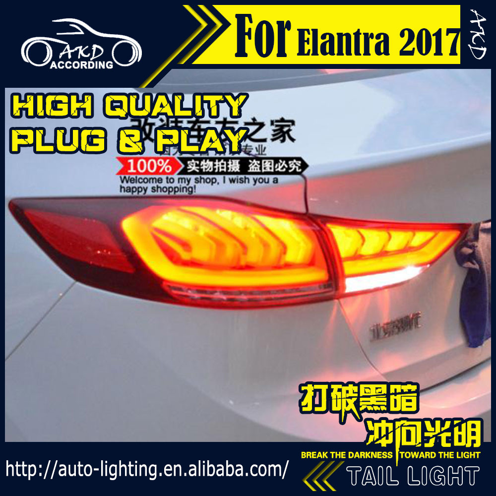 AKD Car Styling Tail Lamp for Hyundai Elantra Tail Lights 2016-2017 New LED Tail Light LED Signal DRL Stop Rear Lamp Accessories car accessories luxury sports door wrist bowl stick handle decorative exterior smooth paste for hyundai elantra 2012 2016