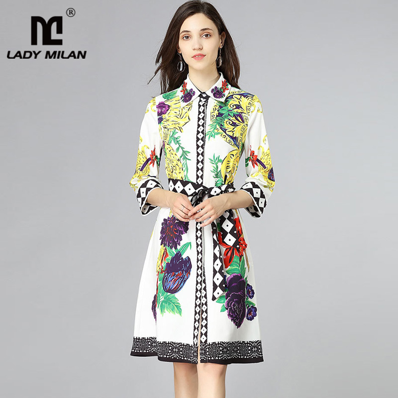 New Arrival 2018 Womens Beaded Turn Down Collar 3/4 Sleeves Floral Printed Sash Belt Fashion Casual Summer Dresses