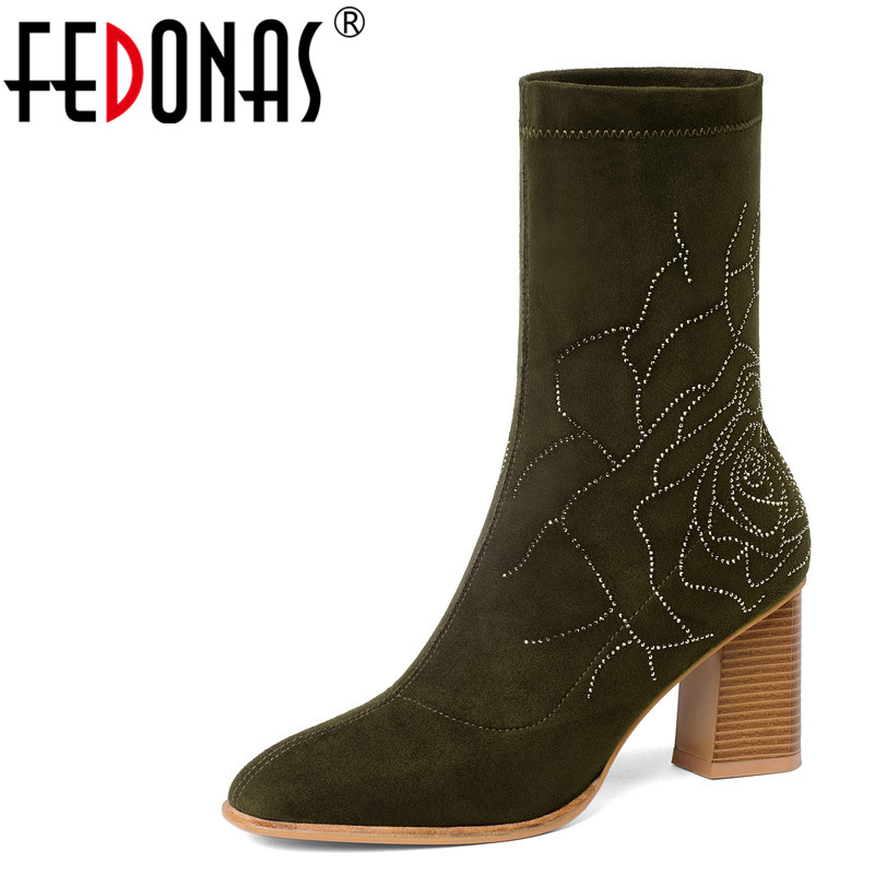 FEDONAS Autumn Winter Women Suede Leather Mid-calf Boots Thick High Heeled Stretch Socks Sexy Glitters Long Dancing Shoes Woman 20cm pole dancing sexy ultra high knee high boots with pure color sexy dancer high heeled lap dancing shoes
