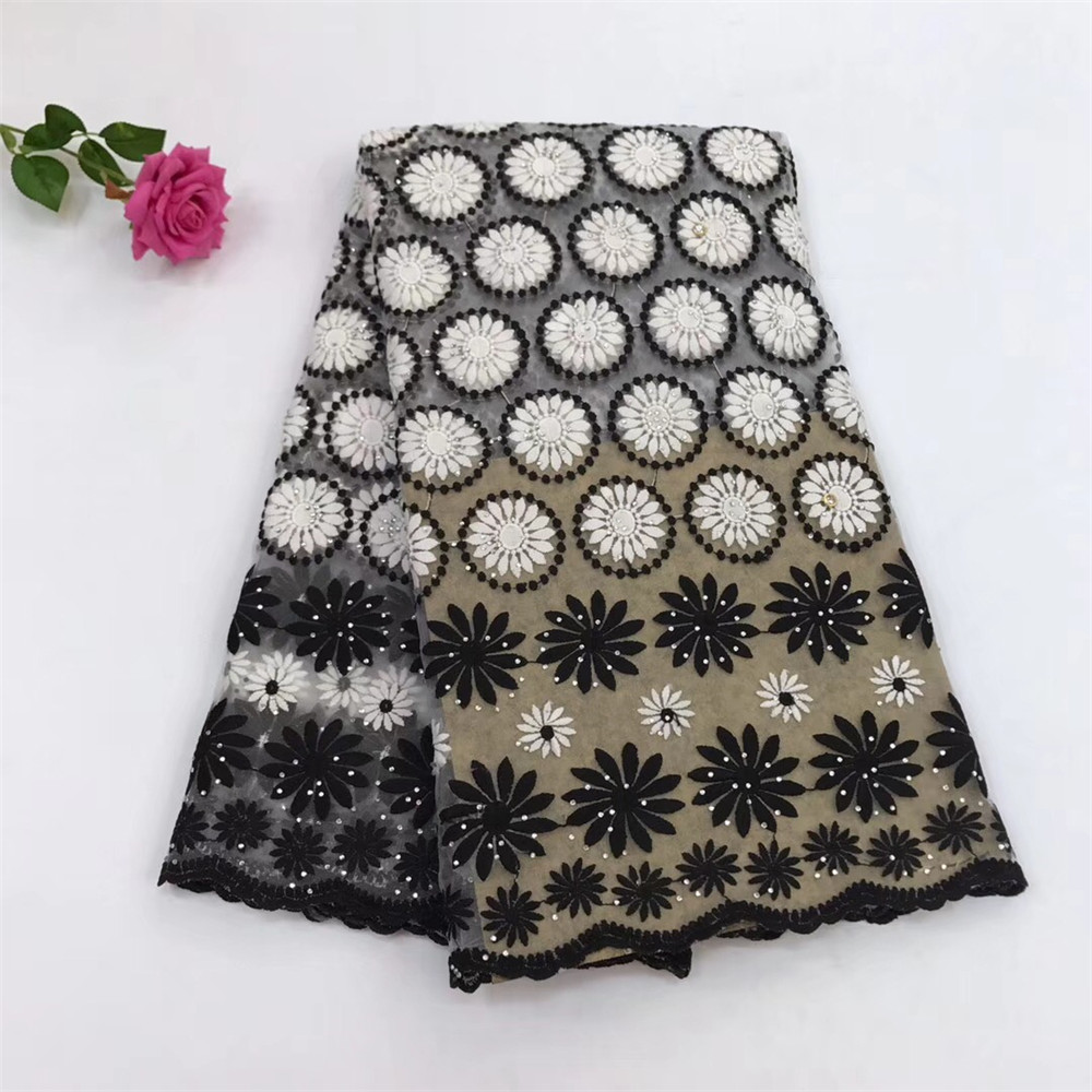 Black / White Nigeria Fashionable High Quality Milk Silk Tulle Embroidery Fabric X449-1Black / White Nigeria Fashionable High Quality Milk Silk Tulle Embroidery Fabric X449-1