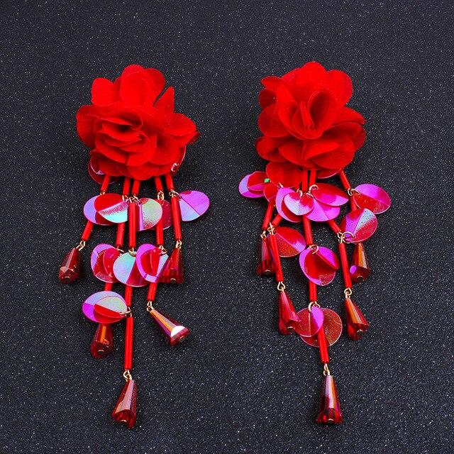 6 couleurs bohème manuel tissu fleur paillettes frange boucle doreille acrylique perles gland longue goutte boucles doreilles pour les femmes bijoux de mariage
