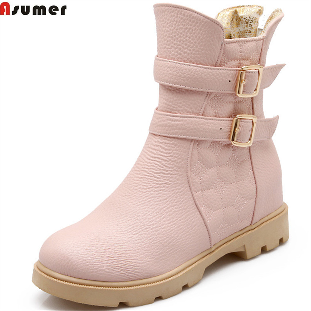 Asumer pink black white fashion women boots round toe zipper ladies bootd height increasing buckle ankle