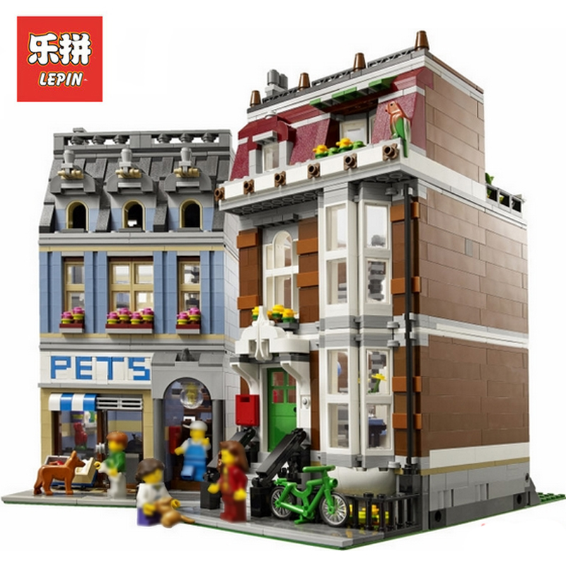 In Stock DHL Lepin Sets 15009 2082Pcs City Street Figures Pet Shop Model Building Kits Blocks Bricks Educational Kids Toys 10218 lepin 15008 2462pcs city street green grocer legoingly model sets 10185 building nano blocks bricks toys for kids boys