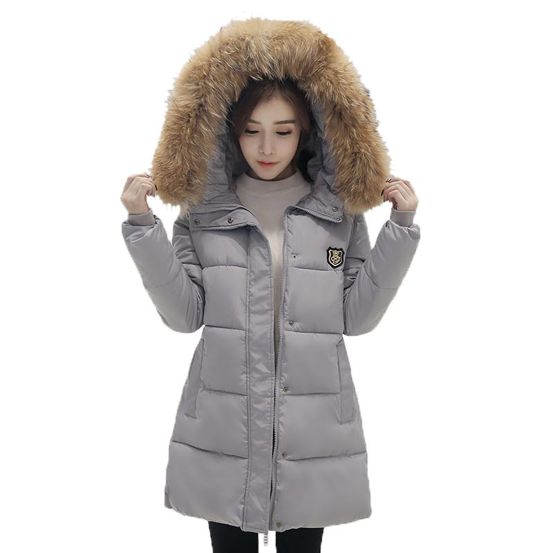 New Women Winter Fur Collar Jacket Hooded Thick Cotton-padded Jacket Patch Medium Long Slim Parka Women Jackets and Coats PW0722 qazxsw 2017 new winter cotton coats women long parkas hooded jacket slim thick padded big fur collar casual winter jacket hb355