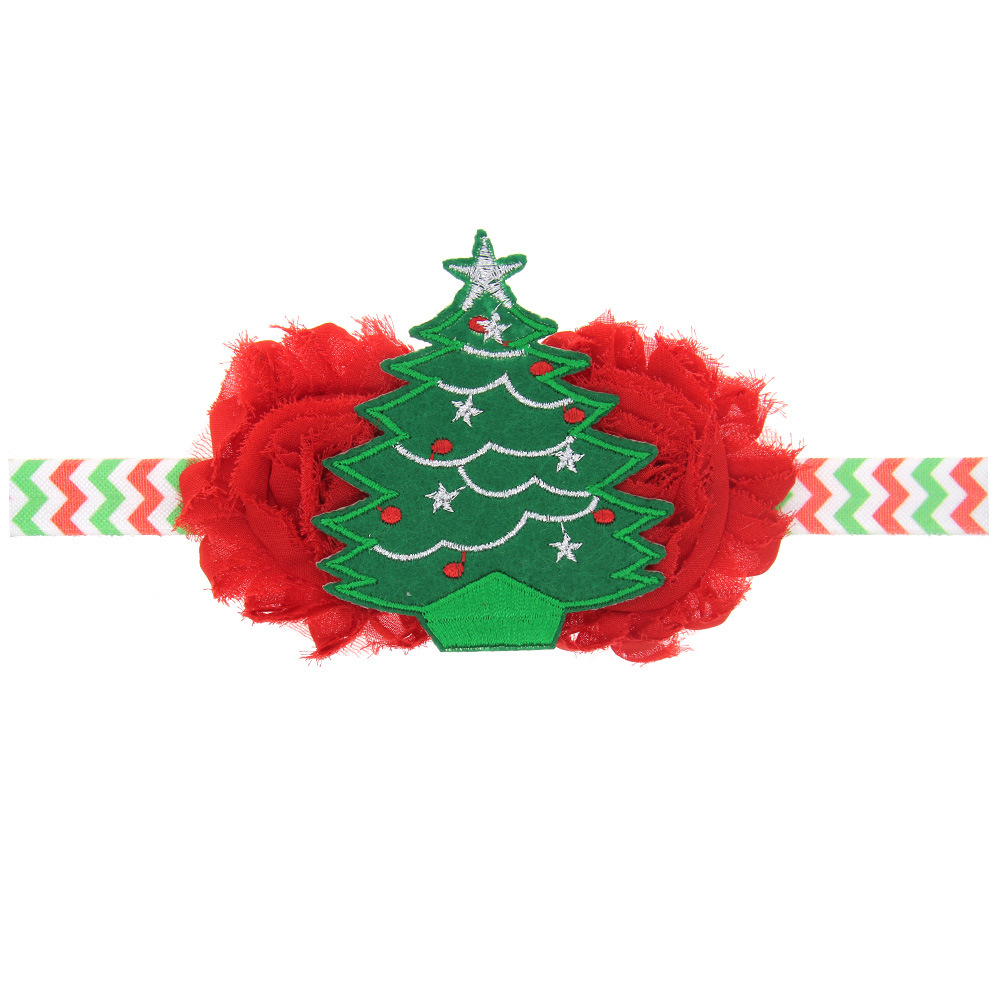 10PCS/LOT Christmas Tree Red Girls Boutique Hair Bows Wave Headband kids Hair Accessories Best Merry Christmas DIY Headwear