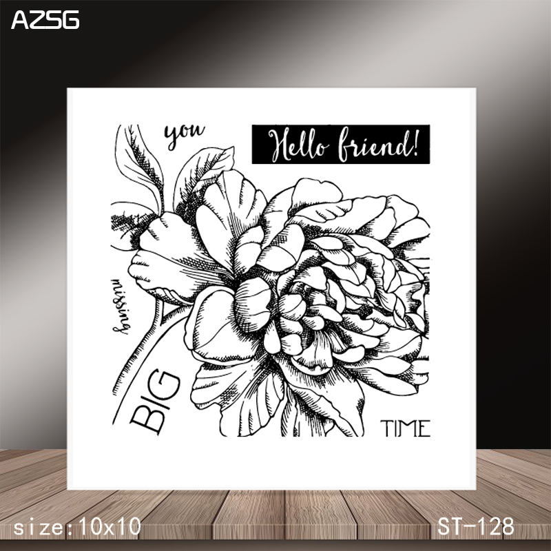 AZSG Blooming flower Clear Stamps/Stamp/For Scrapooking/Card Making/Silicone Stamps/Decoration  Crafts