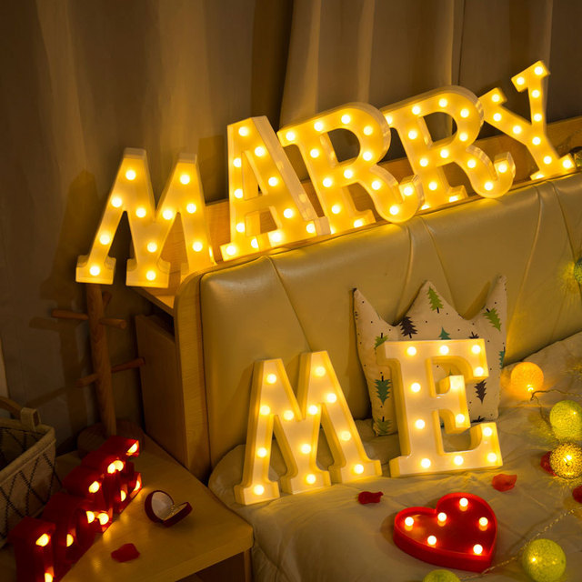 3D White 26 Letter Alphabet LED Light Marquee Sign Night Light Wall Hanging Lamp Bedroom Wedding Birthday Party Decor