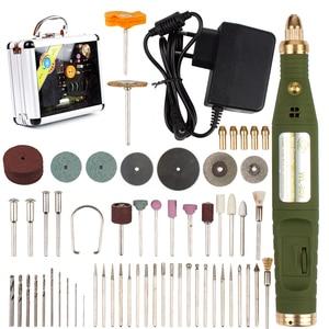 Image 1 - Mini perceuse rotative électrique 18V 18000 tr/min, broyeur avec 80 pièces, accessoires, mèches, Kit de ponçage pour outil Dremel